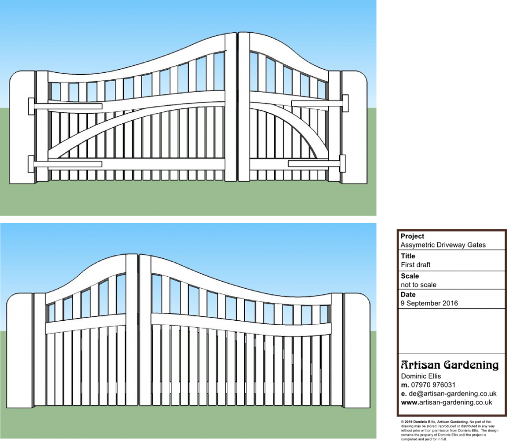Design for asymmetric, curved top, oak driveway gates.